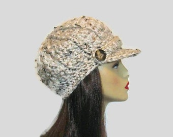 Oatmeal Newsboy Hat Crochet Hat with Visor Adult Oatmeal knit newsboy Hat  Cream Crochet Hat with Visor Tweed Cream Newsboy Hat Cream Hat