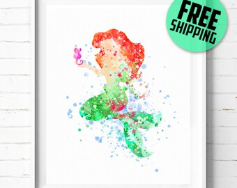 Ariel print, Disney Princess print, Little Mermaid Print, Disney poster, Princess Ariel poster, Disney art print, wall art, kids Decor 03