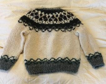 Handmade Icelandic wool sweater child size 8
