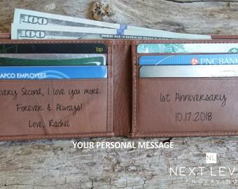 Mens Bifold Wallet Personalized, Engraved Wallet for Men, Mens Custom Wallet - Brown Cowhide RFID Leather Wallet, Personalized Mens