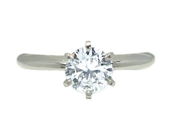 14k White Gold 1 ct Diamond Solitaire Engagement Ring