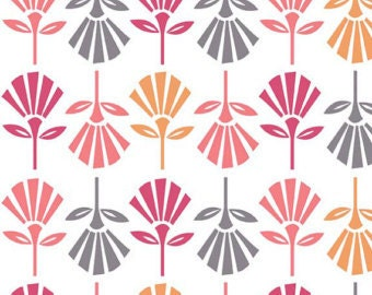 PADDED Ironing Board Cover made with Riley Blake Gracie Girl pink orange and gray fronds on white fabric, select the size