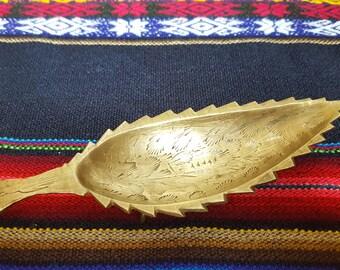 Etched Brass Leaf Trinket Dish