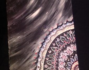 Textured mandala painting