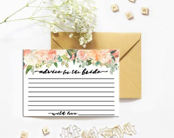 Advice for the Bride and Groom, Wedding advice cards, Advice for the Bride, Wedding printable, Bridal Shower Favor