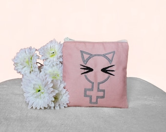 Feminist Cat Pouch ~ Kitty Embroidered Woman Zipped Pouch ~ Small Women Make Up Bag ~ Gift for Her