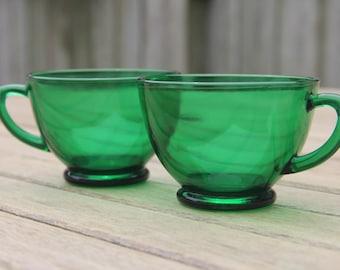 Emerald Green Glass Teacups (set of 2)/Coffee & Tea/Green Glass/Tea Time/Tea Party