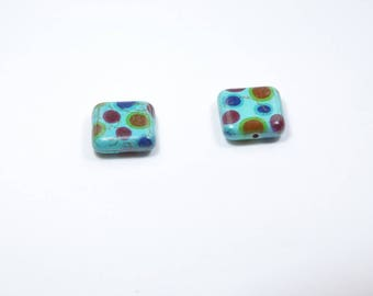 PE81 - Set of 2 beads, reconstituted turquoise