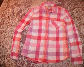 PASTEL PINK PLAID shirt,pink plaid shirt,pink plaid blouse,pink checkered shirt,plaid shirt women,checkered shirt,checkered blouse,small