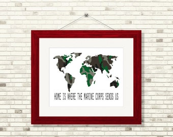 Home Is Where The Marine Corp Sends Us, Military Marine Corps Decor, Marine Corps Art Print, Military Map Art Print, Marine Corps Map Print