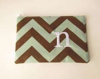 Monogram Make up Bag - N pouch - Ready to Ship - Bridesmaid Makeup bag - Cosmetic bag - Make up Clutch - Monogrammed Gift - Medium