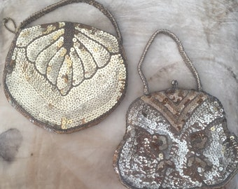 1920s sequinned and beaded evening purse x 2