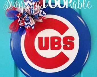 Cubs Baseball Wood Door Hanger by SimplyaDOORable!  Play Ball.. Cubs Door Hanger, Cubs Wreath, Baseball Door Hanger, Cubs Fan
