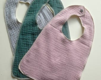 Set of 3 bibs double gauze cotton and organic Terry