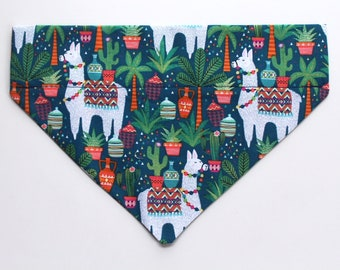 Llama Print Over The Collar Dog Bandana