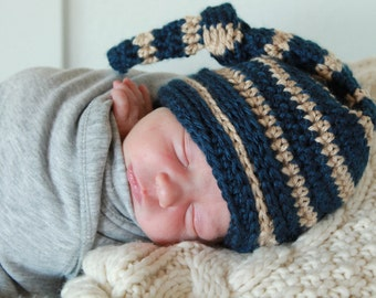 Boy Knotted Hat - Baby Boy Knot Hat - Knotted Baby Hat - Personalized Hat - Hipster Boy Hat - Baby Shower Gift -  by JojosBootique