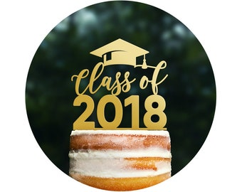 Custom Graduation Cake Topper, Class Of Cake Topper, Graduation Decorations, High School Graduation Cake Topper, College Grad Party (T443)