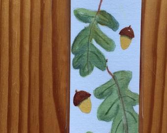 An Original, laminated, Watercolor Bookmark, Oak Leaves and Acorns
