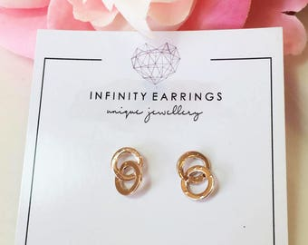 Circle Earrings, Rose Gold Circle Earrings, Double Open Circle Earrings, Simple Gold Earrings, Gold Stud Earrings, Mini Circle Earrings