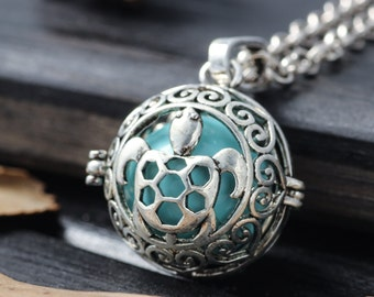 Antique Silver Turtle Bola Pendant Locket Angel Caller Glowing Jewelry Mother-to-be Harmony Ball Necklace Baby Chime Jewelry Gift Pregnancy