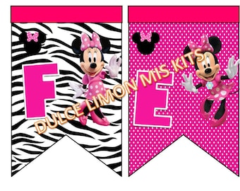 Banner, pennant, poster, pink and zebra minnie !!!