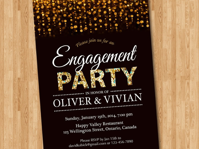 Engagement Party Invitation. Engagement Dinner invite Glitter