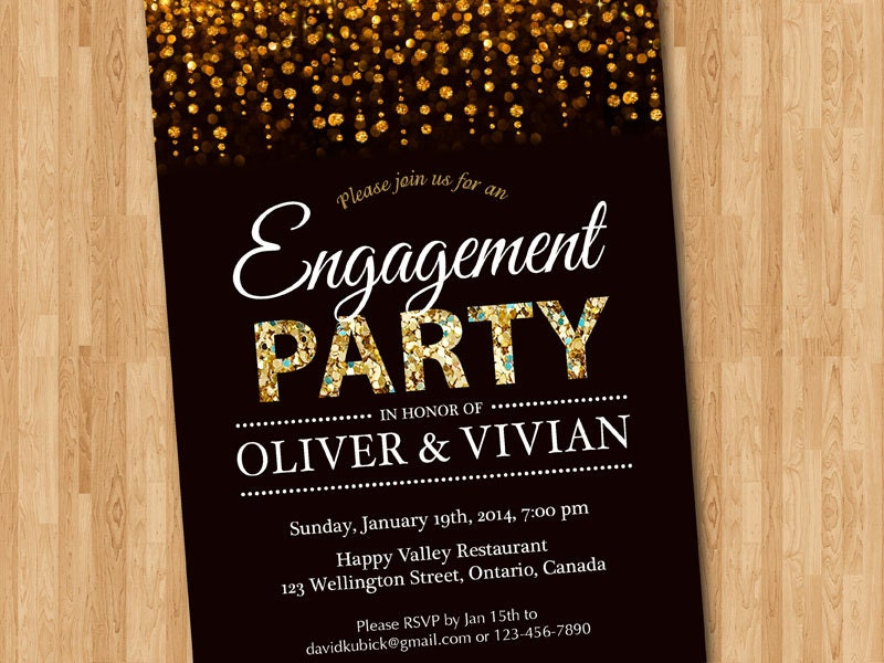 Engagement party invitation engagement dinner invite glitter for Invitation for engagement party