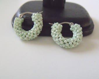 Beaded hoops, mint green earrings, small hoop earrings, green hoops, glass woven green jewelry