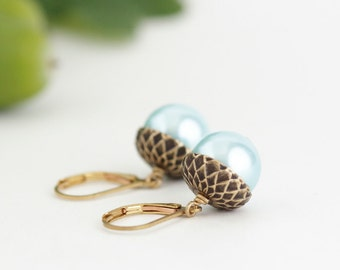 Fall Earrings - Blue Pearl Earrings - Acorn Earrings -  Nature Earrings - Woodland Earrings - Acorn Dangle Earrings - Autumn Jewelry