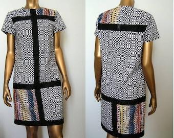 Op Art Mondrian 1960s Mod Dress SM