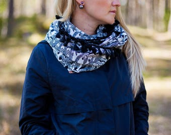 Infinity scarf Woman scarf Feather scarf Feather circle scarf Monochrome Loop scarf Neck warmer