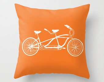 Tandem Bike Pillow Cover - Orange Novelty Throw Pillow - Sports Bicycle Decorative Pillow Cover -  Modern Home Decor - includes insert