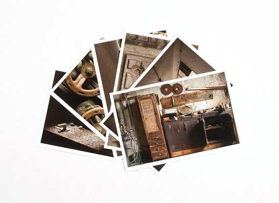 Postcard Set Abandoned places, Yellow Brown 4x6 Urbex Prints, Urban Exploring Photography, Yellow Brown Decor Photo Cards