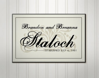 """Large Family Name Sign, Ivory or Black, Wood Brush Script Sign, Personalized Wedding Sign, Custom Last Name Sign, 18"""" x 24"""""""