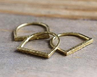 Hammered Bar Ring // Boho Stacking Ring // Gold Brass Hammered Ring