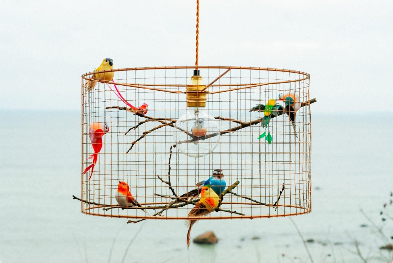 Copper birdcage pendant light chandelier zoom arubaitofo Gallery