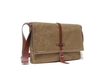 """13"""" / 15"""" MacBook Pro Retina messenger bag - camel brown herringbone"""