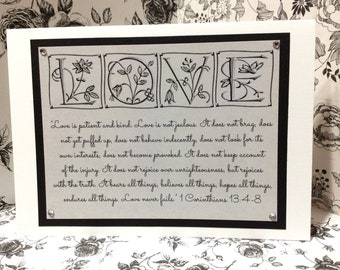 "Engagement / Marriage Greeting Card ~ ""Love is Patient & Kind..."" Scripture ~ 1 Corinthians 13:4-8"