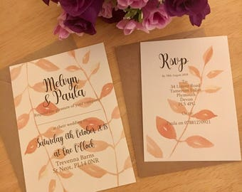 Leafy wedding invitation, flat wedding invite, Autumn wedding x15
