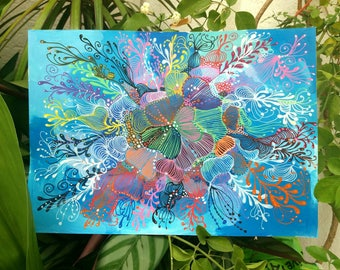 """Decorative aPintura, intuitive art, abstract painting, done with markers posca and acrylic painting titled """"Flowers"""""""