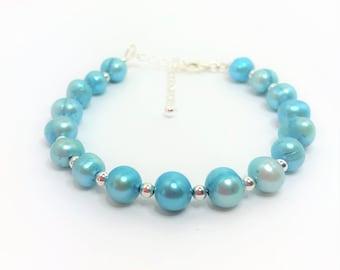 Sky Blue Freshwater Cultured Pearl Bracelet 925 Sterling Silver Blue Pearl Adjustable Bracelet Sky Blue Beaded Bracelet Unique Gift for Her