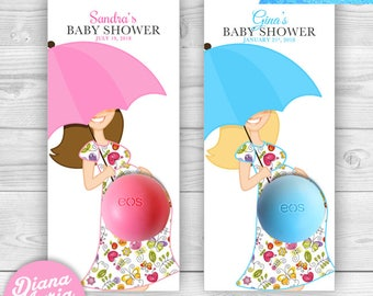 Eos Favors Umbrella Baby Shower -Eos lip balm holder - DIY Favor Tags - Eos Baby shower favors