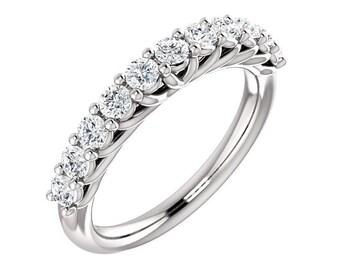 Platinum Diamond Wedding Band Ring For Women 0.70 Carats PT 950 Shared Prong Set 11 Stone Anniversary Ring band Half Eternity