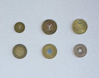 Complete Set of 6 NYC New York City Subway Tokens NYCTA MTA Transit Authority