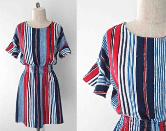Vintage 1980's day dress RED WHITE & BLUE striped short ruffled sleeve - S