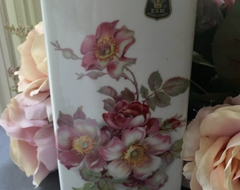Wild Rose Vase made in Germany Gerhold Porzellan Tall Rose Vase