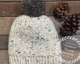 The CONWAY beanie pattern/Knitting pattern / Knit pattern / Basic knitting pattern /Basic knit hat/ Beginner knitting pattern