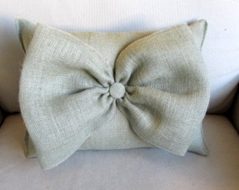 sage green Burlap Accent Pillow with giant burlap bow