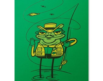 Frog Art Print / Fishing Print / Fly Fishing Print / Cute Frog Wall Art / Fishing Pole Print / Home Decor / 8 x 10