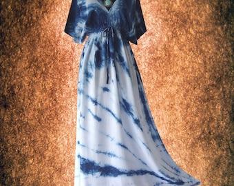 Japanese Shibori Indigo Tie dye Artwork Casual Kimono maxi Dress